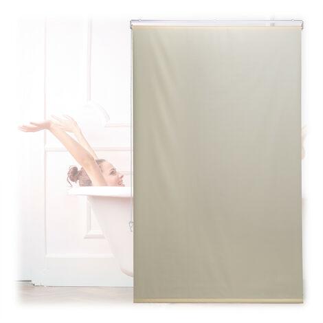 Store de baignoire, 100x240 cm, rideau de douche hydrofuge, plafond & fenêtre, pare-bain, salle de bain, beige
