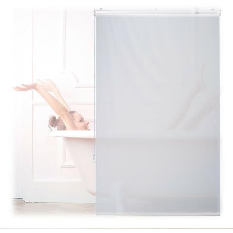 Store de baignoire, 100x240 cm, rideau de douche hydrofuge, plafond & fenêtre, pare-bain, salle de bain, blanc