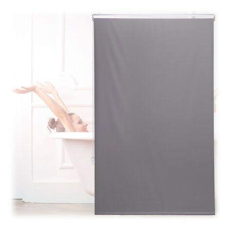 Store de baignoire, 100x240 cm, rideau de douche hydrofuge, plafond & fenêtre, pare-bain, salle de bain, gris