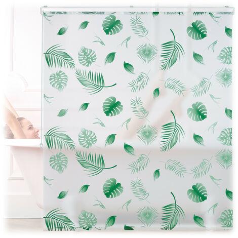 Store de baignoire, 140 x 240 cm, rideau de douche hydrofuge, plafond & fenêtre, pare-bain, blanc/vert