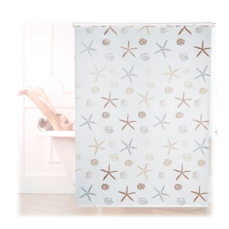 Store de douche Ocean, 160x240 cm, Rideau de douche, baignoire bain store, fixation plafond, semi-transparent