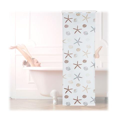 Store de douche Ocean, 80x240 cm, Rideau de douche, baignoire bain store, fixation plafond, semi-transparent