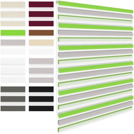 Store double à enrouleur sans perçage pour fenêtre 90 x 230 cm Vert Gris Blanc