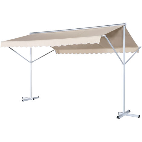 Store double pente manuel rétractable inclinaison réglable acier époxy blanc polyester imperméabilisé anti-UV beige dim. 3,95L x 2,94l x 2,50H m