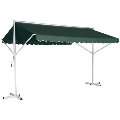 Store double pente manuel rétractable inclinaison réglable métal polyester imperméabilisé 3,5L x 2,94l x 2,5H m vert foncé