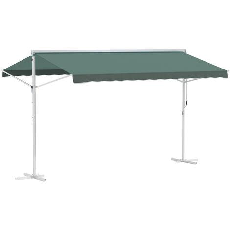 Store double pente manuel rétractable inclinaison réglable métal polyester imperméabilisé 3,95L x 2,94l x 2,5H m vert foncé