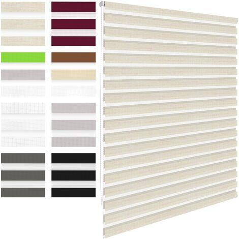 Store double pour fenêtre à enrouleur sans percer balcon rollo 60x150cm naturel