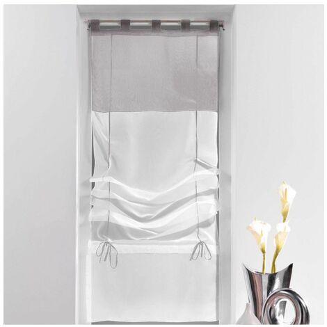 Store droit à passants - 45 x 180 cm - Blanc et gris