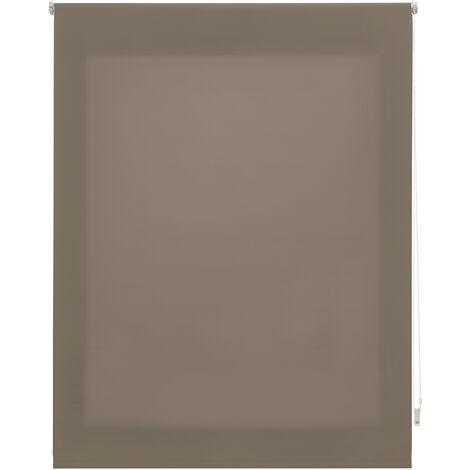 Store enrouleur 180X175 MARRON Poliéster Translucide avec Fixation au mur ou au plafond