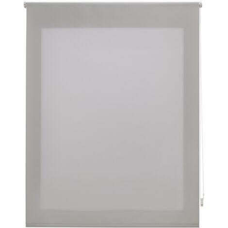Store enrouleur 90X175 ARGENT Poliéster Translucide avec Fixation au mur ou au plafond