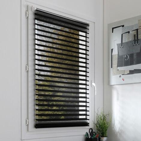 Store Enrouleur Alizée sans perçage voile / tamisant - Noir - L124 x H150cm