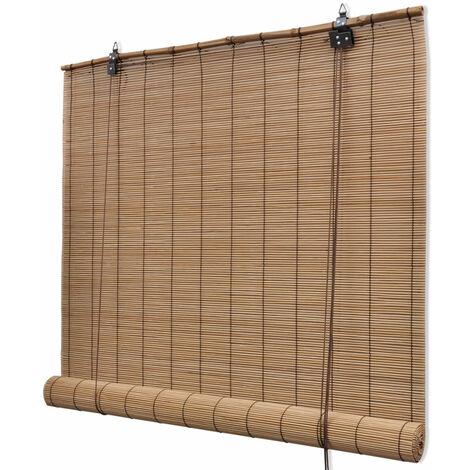 Store enrouleur bambou brun 120 x 220 cm fenêtre rideau pare-vue volet roulant - Or