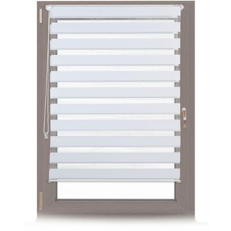 Store enrouleur double face klemmfix en blanc sans perçage fenêtre porte balcon en tissu 106x156 cm, blanc