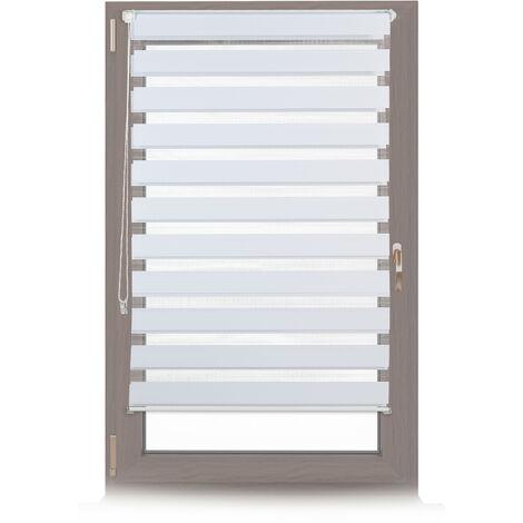 Store enrouleur double face klemmfix en blanc sans perçage fenêtre porte balcon en tissu 81x156 cm, blanc