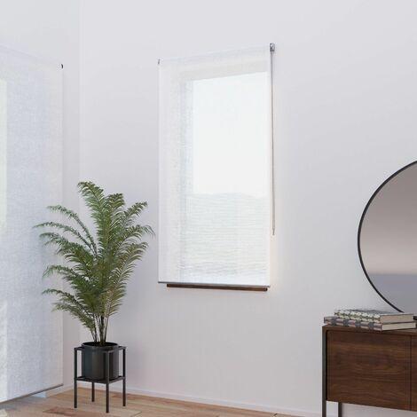 Store Enrouleur Effet Voile de Lin - gamme Must - Blanc - L79 x H250cm - Blanc