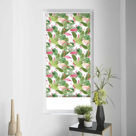 Store enrouleur imprimé feuillages et flamants roses Multicolore 60 x 180 cm