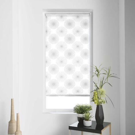 Store enrouleur imprimé japonais 120 x 180 cm polyester ozone Blanc