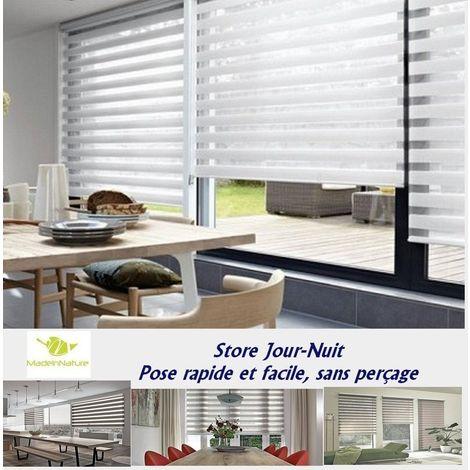 store enrouleur jour nuit blanc fixation sans per age. Black Bedroom Furniture Sets. Home Design Ideas