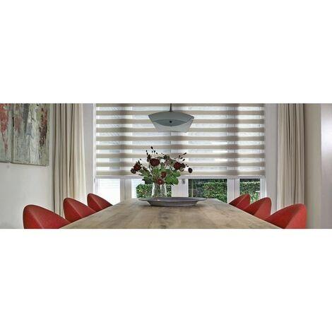Store enrouleur jour-nuit, fixation sans perçage DIMENSIONS ET COULEURS AU CHOIX - Blanc - 180 cm - 120 cm. - Blanc