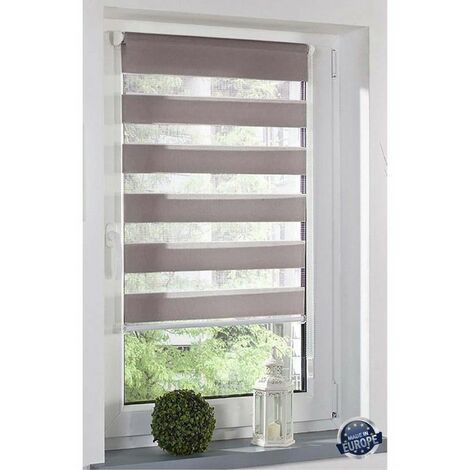 Store Enrouleur jour/nuit sans perçage dimensions 80x180cm Coloris - Blanc - Blanc