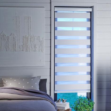 Store Enrouleur Jour Nuit Semi-coffre Blanc - Blanc - L126 x H220cm - Blanc