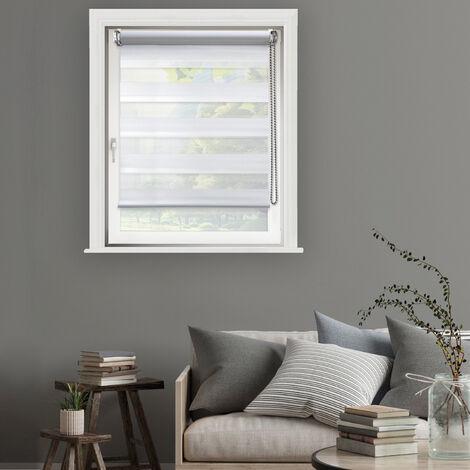 Store Enrouleur Jour Nuit Tamisant Chic Sans Percer - gamme Must - Blanc - L56 x H160cm - Blanc