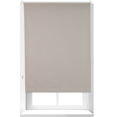 Store Enrouleur occultant, store occultant, Support Chaînette latérale, Fixation fenêtre, 160x76 cm, marron