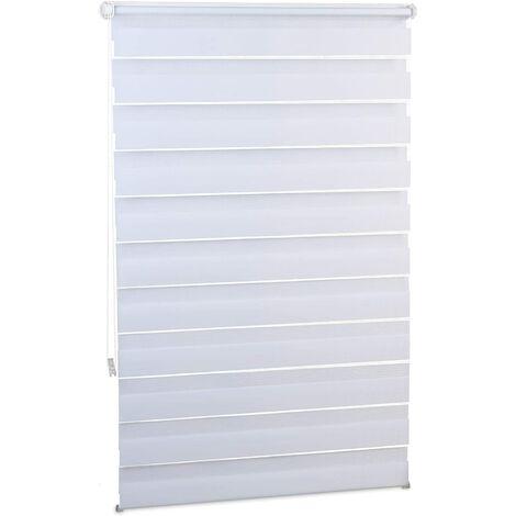 Store enrouleur tamisant double face sans perçage 110 x 150 cm blanc - Blanc