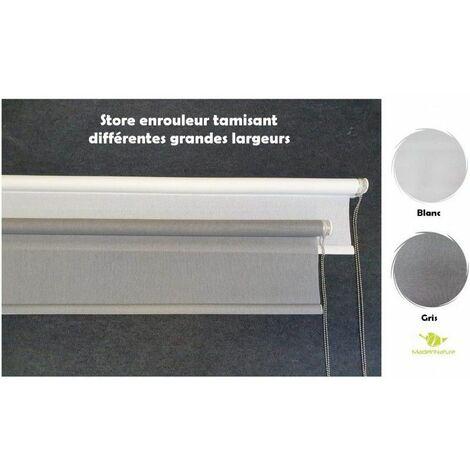 Store Enrouleur tamisant Grandes Largeurs, Design et Grande qualité, Hauteur Maxi 250 cm, Gris ou Blanc, chaînette métal - Blanc - 1.90 m.