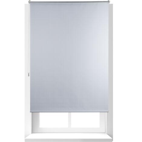 Store Enrouleur Thermique Chaînette latérale Fixation clips sans perçage, 110x160, largeur tissu 106cm, blanc