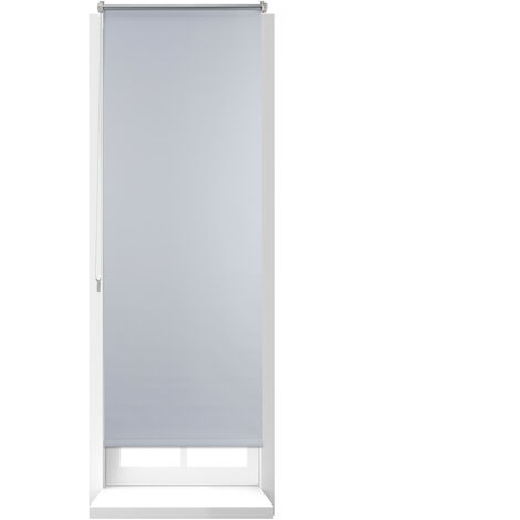 Store Enrouleur Thermique Chaînette latérale Fixation clips sans perçage, 60 x 160, largeur tissu 56 cm, blanc