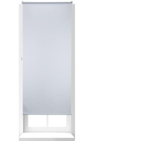 Store Enrouleur Thermique Chaînette latérale Fixation clips sans perçage, 90x210cm, largeur tissu 86cm, blanc