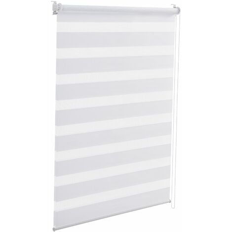 Store enrouleur zébré sans perçage réglage en continue polyester 70 x 150 cm blanc - Blanc