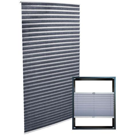 Store gris 90*200cm Store plissé Pare-vue Moderne Rideau occultant de fenêtre Persienne