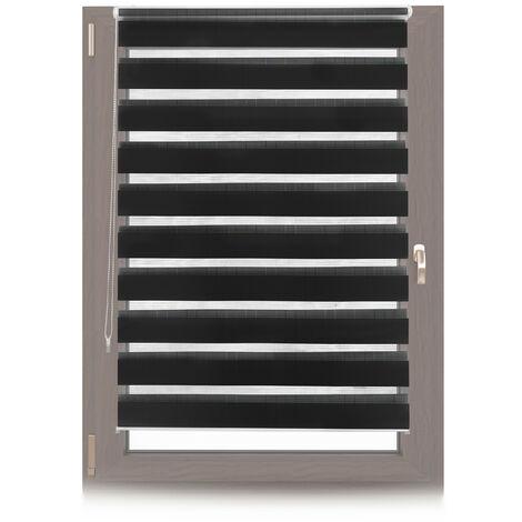 Store jour nuit, Store double enrouleur Klemmfix, Sans perçage, fenêtre, 110x150 cm, Tissu 106 cm, noir