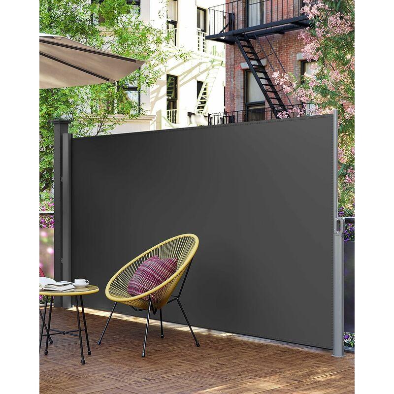 Store Latéral 350 X 200cm Abri Soleil Paravent Extérieur Rétractable 280gm² Polyester Beige Et Gris Au Choix