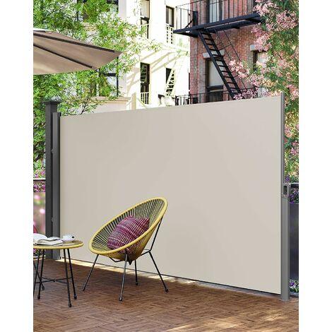 Store latéral 350 x 200cm Abri soleil Paravent extérieur rétractable 280g/m² polyester Beige et Gris au choix