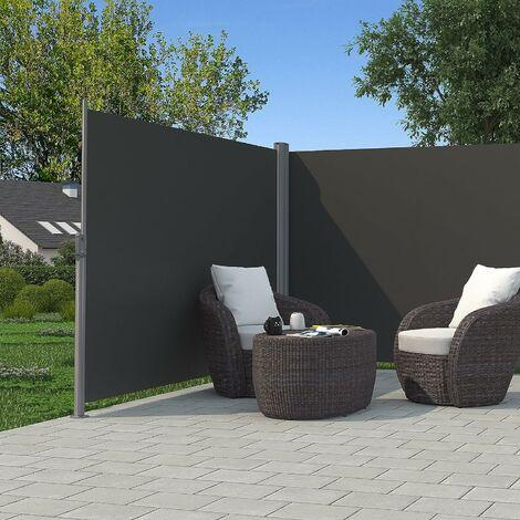 Store latéral abri soleil latéral rétractable Certifié par TÜV SÜD 180 x 600cm Beige et Gris au choix