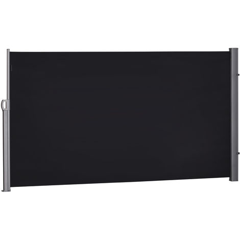 Store latéral brise-vue paravent rétractable dim. 3L x 1,60H m alu. polyester anti-UV haute densité 180 g/m² noir