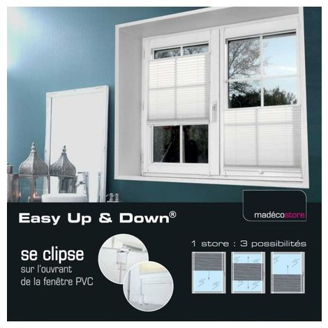Store Plissé Easy Up and Down - Blanc - L37 x H150cm - Blanc