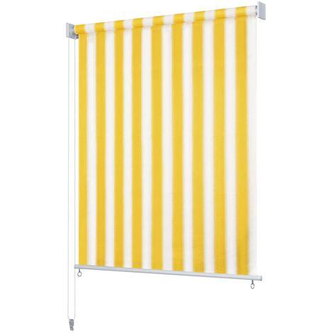 Store roulant d'extérieur 120x140 cm Rayures jaunes et blanches