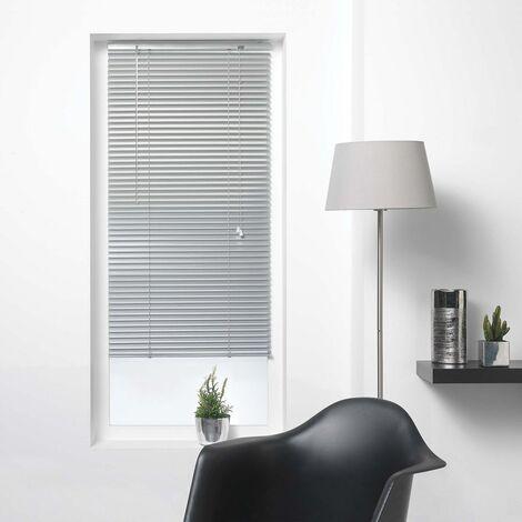 Store vénitien à lamelles 90x130 cm aluminium argent - Gris