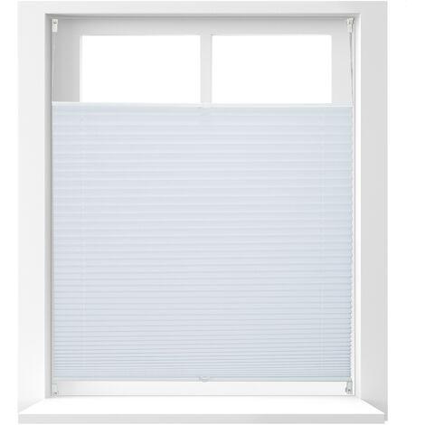 Store vénitien sans perçage volet fenêtre blanc laisse passer la lumière, 100 x 130 cm