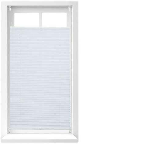 Store vénitien sans perçage volet fenêtre blanc laisse passer la lumière, 60 x 130 cm