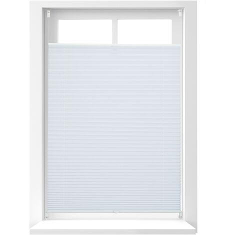 Store vénitien sans perçage volet fenêtre blanc laisse passer la lumière, 80 x 130 cm