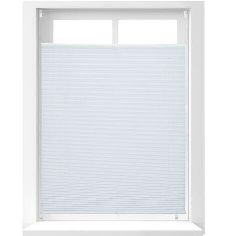 Store vénitien sans perçage volet fenêtre blanc laisse passer la lumière, 90 x 130 cm