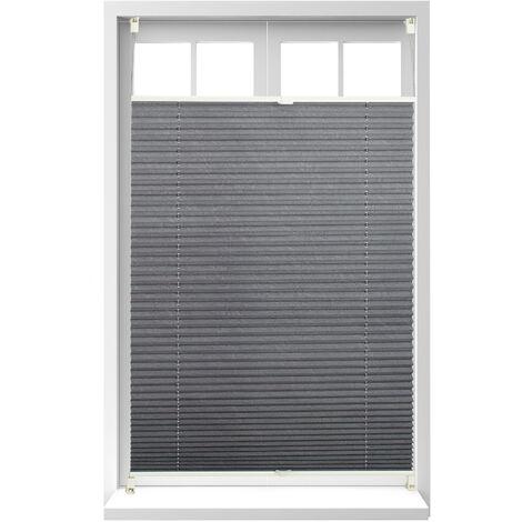 Store vénitien sans perçage volet fenêtre gris 100 x 130 cm laisse passer la lumière, gris