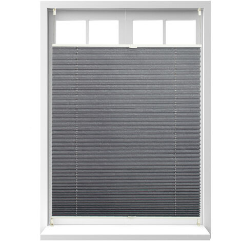 Store vénitien sans perçage volet fenêtre gris 90 x 130 cm laisse passer la lumière, gris