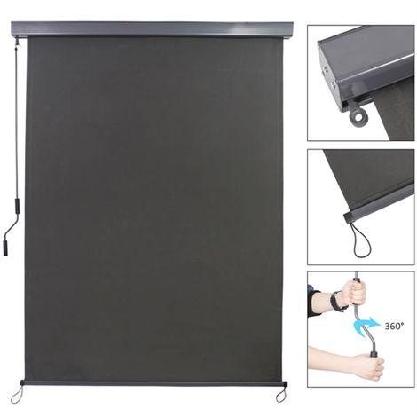 Store vertical 160x250 cm store latéral store anthracite protection contre le vent protection solaire store à rouleau terrasse toit protection du balcon