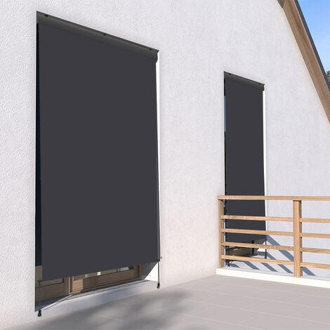 Store vertical enrouleur extérieur pour terrasse ou balcon - 1,4 x 2,5 m - Anthracite - Gris anthracite